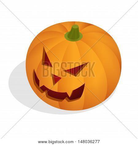 Isometric Halloween pumpkin head jack lantern. Halloween background with pumpkin