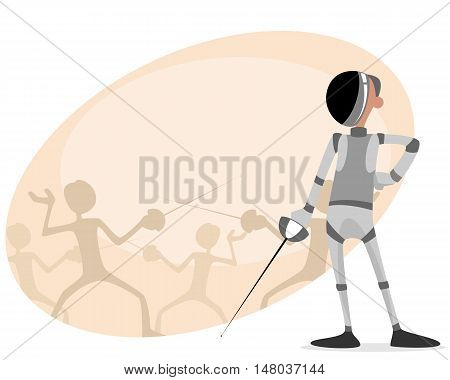 Vector illustration of a fencer with rapier