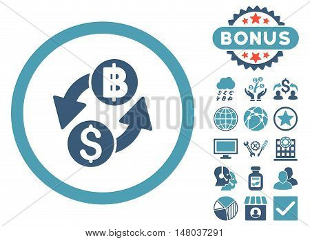 Dollar Baht Exchange icon with bonus symbols. Vector illustration style is flat iconic bicolor symbols, cyan and blue colors, white background.