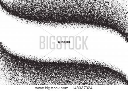 Abstract vector dark gray round ash particles on white background. Spray effect. Scatter exploding falling black drops. Hand made grunge texture