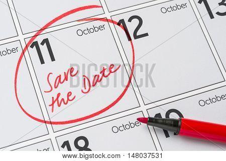Save The Date Written On A Calendar - October 11