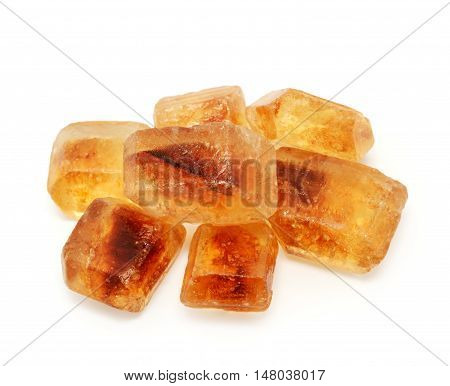 Caramelized sugar isolated on the white background