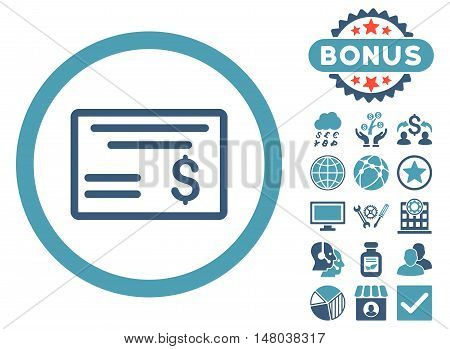 Dollar Cheque icon with bonus symbols. Vector illustration style is flat iconic bicolor symbols, cyan and blue colors, white background.