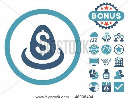 Dollar Deposit Egg icon with bonus pictures. Vector illustration style is flat iconic bicolor symbols, cyan and blue colors, white background.