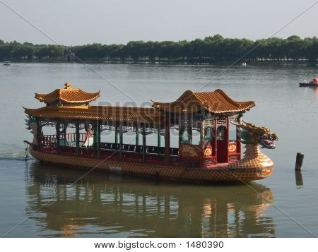 Pagoda Imperial  Boat On A Lac, Summer Palace, Beijing, China