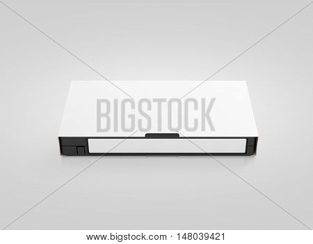 Blank white video cassette tape mockup isolated front view clipping path 3d rendering. Clear vhs cassete case design mock up. Retro tv videotape cover template. Analog movie casette box copy with sticker