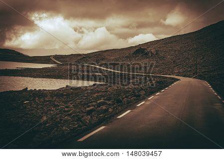 Scenic Alpine Road in Norway. Norwegian Rocky Scenery.