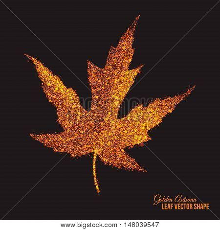 Abstract bright golden shimmer glowing dots in autumn maple leaf shape artistic vector background. Scatter shine tinsel particles light effect. Handmade stippled art floral illustration