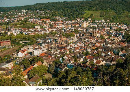 Town of Bingen Germany. Summer Day City Panorama. Bingen am Rhein District in Rhineland Palatinate Germany