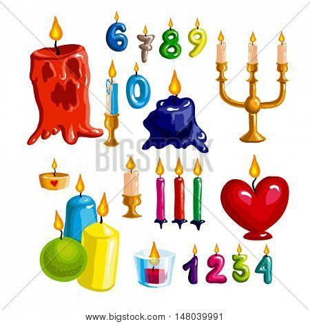 Colorful candle set. Vector candle flame and wax - collection for birthday party and holiday. Candlesticks on white background. Cartoon style illustration