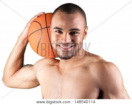 Smiling Shirtless Basketball Player Holding a Ball - Isolated