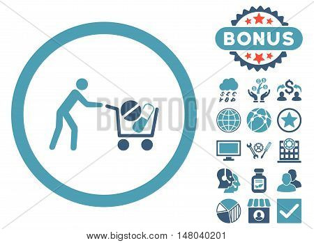 Drugs Shopping Cart icon with bonus pictogram. Vector illustration style is flat iconic bicolor symbols cyan and blue colors white background.