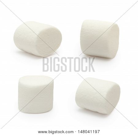 Set of marshmallows isolated on the white background