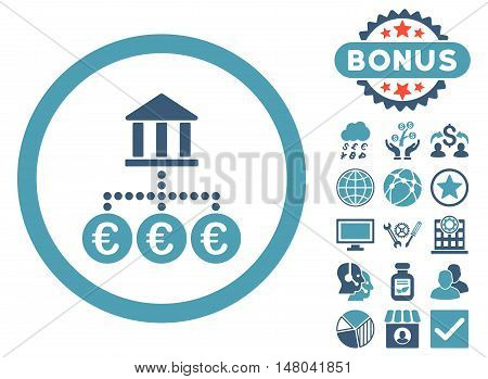 Euro Bank Transactions icon with bonus elements. Vector illustration style is flat iconic bicolor symbols, cyan and blue colors, white background.