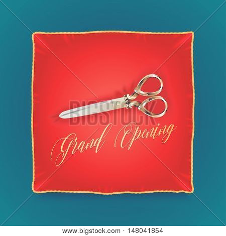 Grand opening, opening soon vector banner, illustration, flyer, poster. Nonstandard design element for scissors and red pillow for opening ceremony