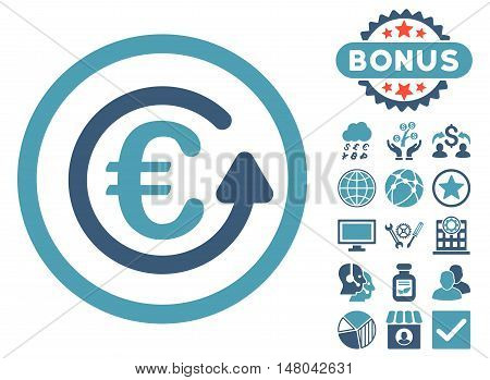 Euro Chargeback icon with bonus pictures. Vector illustration style is flat iconic bicolor symbols, cyan and blue colors, white background.