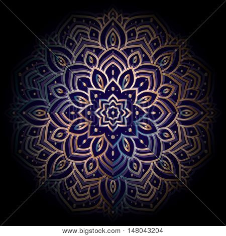 Ornament Mandala on black background. Ethnic vintage pattern. Geometric circle element, Hand drawn Vector illustration.