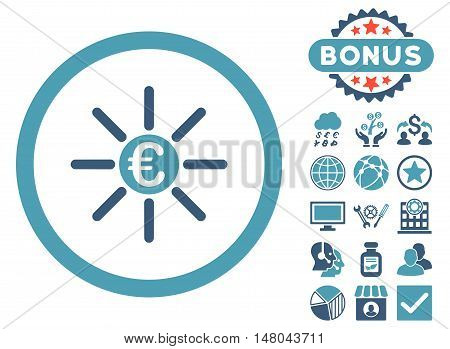 Euro Distribution icon with bonus pictures. Vector illustration style is flat iconic bicolor symbols cyan and blue colors white background.