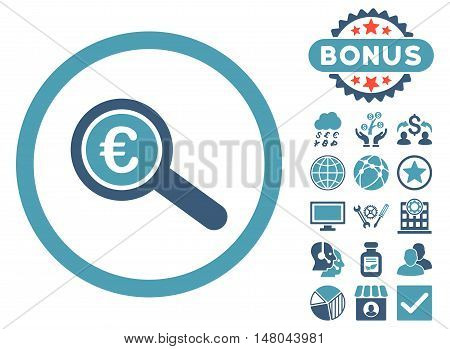 Euro Financial Audit icon with bonus pictures. Vector illustration style is flat iconic bicolor symbols, cyan and blue colors, white background.