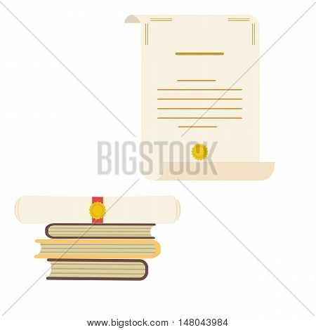 Unrolled and rolled diploma paper icon with stamp and books on white background