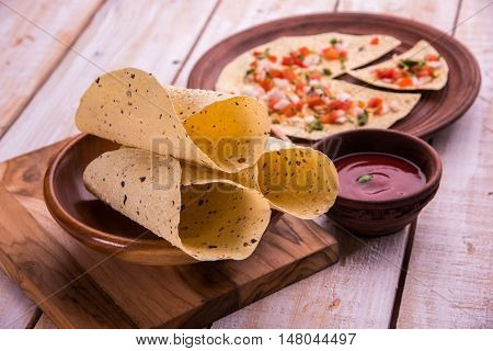 masala papad , indian vegetarian crispy food or starter
