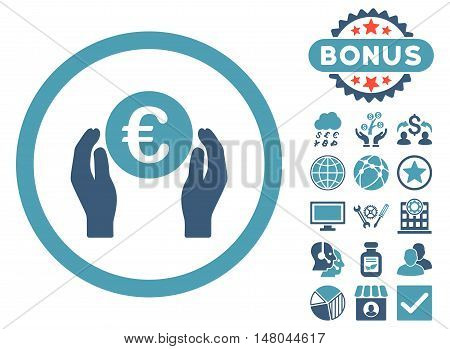 Euro Insurance Hands icon with bonus elements. Vector illustration style is flat iconic bicolor symbols, cyan and blue colors, white background.