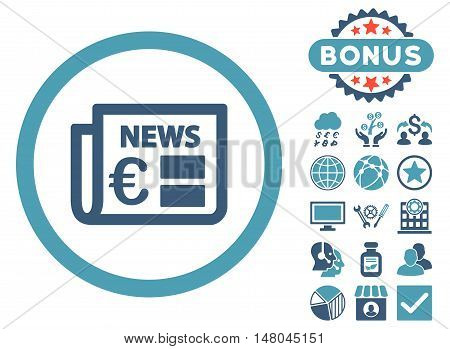 Euro Newspaper icon with bonus design elements. Vector illustration style is flat iconic bicolor symbols, cyan and blue colors, white background.