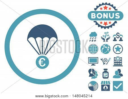 Euro Parachute icon with bonus pictogram. Vector illustration style is flat iconic bicolor symbols, cyan and blue colors, white background.