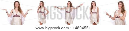 Pretty lady in light charming dress isolated on white