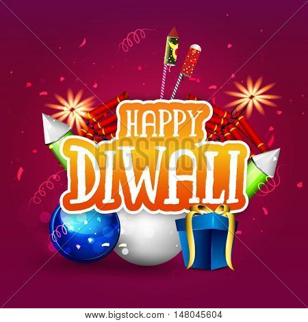 Glossy Gifts with colourful Firecrackers, Vector creative elements for Indian Festival of Lights, Happy Diwali Celebration.