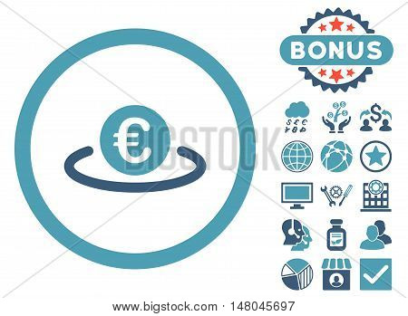 Euro Placement icon with bonus images. Vector illustration style is flat iconic bicolor symbols, cyan and blue colors, white background.