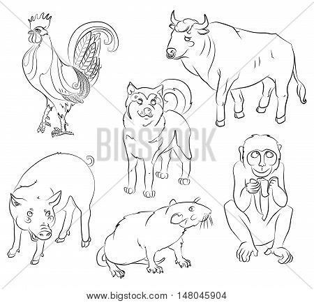 Six Chinese calendar animals rooster dog pig rat monkey and ox. For your convenience each significant element is in a separate layer. eps10