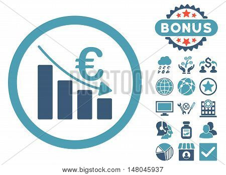 Euro Recession icon with bonus images. Vector illustration style is flat iconic bicolor symbols, cyan and blue colors, white background.