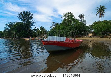 Fisherman boat at Tanjung Aru village at Labuan,Malaysia.The fishing industry contributes a significant income to islanders here.