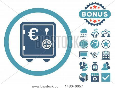 Euro Safe icon with bonus images. Vector illustration style is flat iconic bicolor symbols, cyan and blue colors, white background.