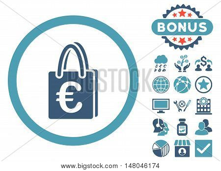 Euro Shopping Bag icon with bonus pictures. Vector illustration style is flat iconic bicolor symbols, cyan and blue colors, white background.