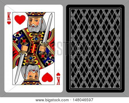King of Hearts playing card and the backside background. Colorful original design