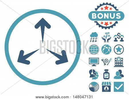 Expand Arrows icon with bonus elements. Vector illustration style is flat iconic bicolor symbols, cyan and blue colors, white background.