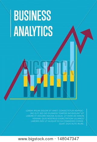 Business finance analytics banner with graphic report on blue background. Vector illustration concept of analyzing financial indicators. Business growth, market research and strategy planning