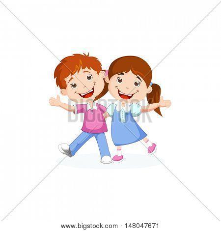 Cute children waving hand. best friends, kids friendly guys