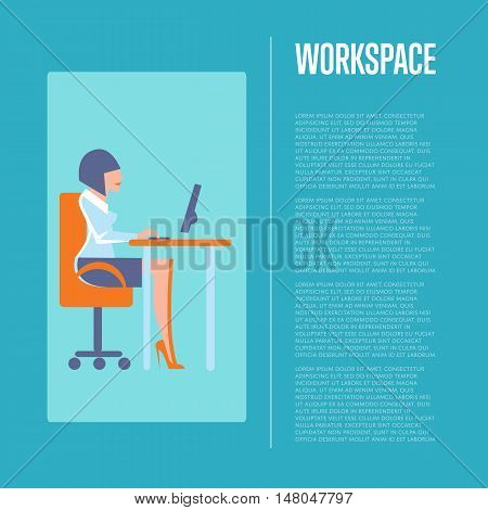 Young businesswoman using desktop computer in office. Workspace banner, isolated vector illustration on blue background. Office life, business process. Office modern workplace with computer.