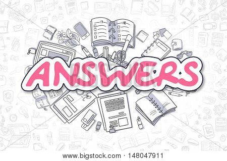 Answers Doodle Illustration of Magenta Inscription and Stationery Surrounded by Cartoon Icons. Business Concept for Web Banners and Printed Materials.