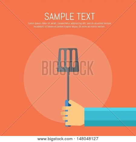 Vector illustration BBQ poster. Hand with spatula on red background. Food flayer. Summer weekend picnic, backyard party banner in flat style with space for text.