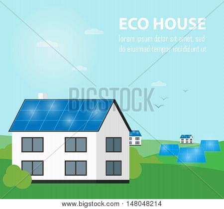 Eco house vector illustration. Solar panels on suburban home. Eco settlement. The production of energy from the sun. Green power. Modern alternative energy generation. Countryside landscape