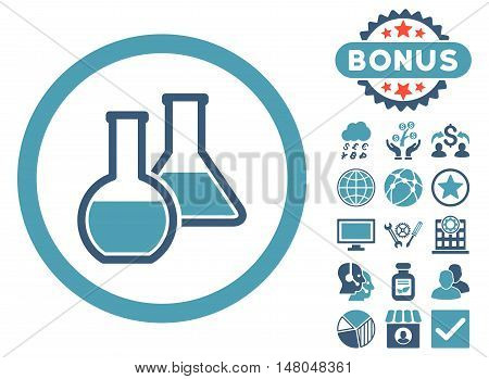 Glass Flasks icon with bonus pictures. Vector illustration style is flat iconic bicolor symbols, cyan and blue colors, white background.