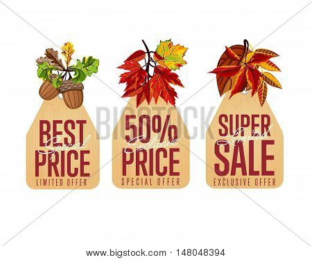 Autumn seasonal sale badges set, vector illustration. Limited super sale, best special price and exclusive price labels in vintage style on white background with colorful autumn leaves