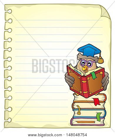 Notebook page with owl teacher 5 - eps10 vector illustration.