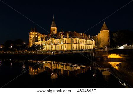 The basilica du Sacre Coeur in Paray-le-Monial in night France