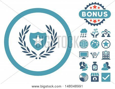 Glory Shield icon with bonus symbols. Vector illustration style is flat iconic bicolor symbols, cyan and blue colors, white background.