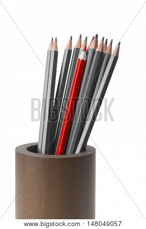 a set of pencils gray and one red pencil in a wooden cup isolated on white background